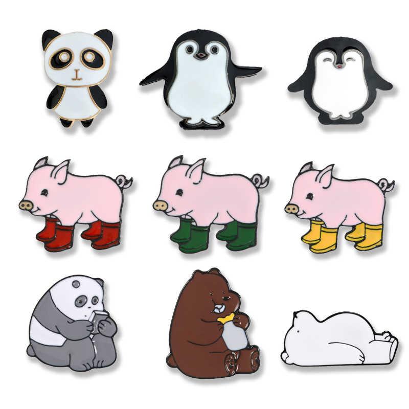Hewan Lucu Pin Kartun Beruang Penguin Panda Enamel Pin Bros Merah Muda Sepatu Bot Hujan Babi Kerah Pin Lencana Wanita Perhiasan Gadis hadiah