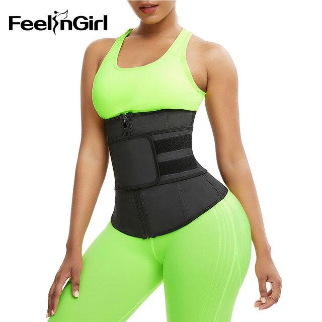 FeelinGirl XS-9XL Abdominal Belt High Compression Zipper Latex Waist Trainer Underbust Body Fajas Sweat Slimming Waist Cincher