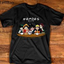 Camisa do presente dos heróis anime manga luffy naruto deku tanjirou camiseta dos homens de algodão preto t camisas unissex algodão confortável tshirts