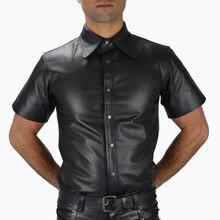Плюс размер пикантное белье для мужчин Топ майки мужские латексные нижнее белье из ПВХ комбинезон сексуальные мужские ПВХ рубашки Клубная одежда