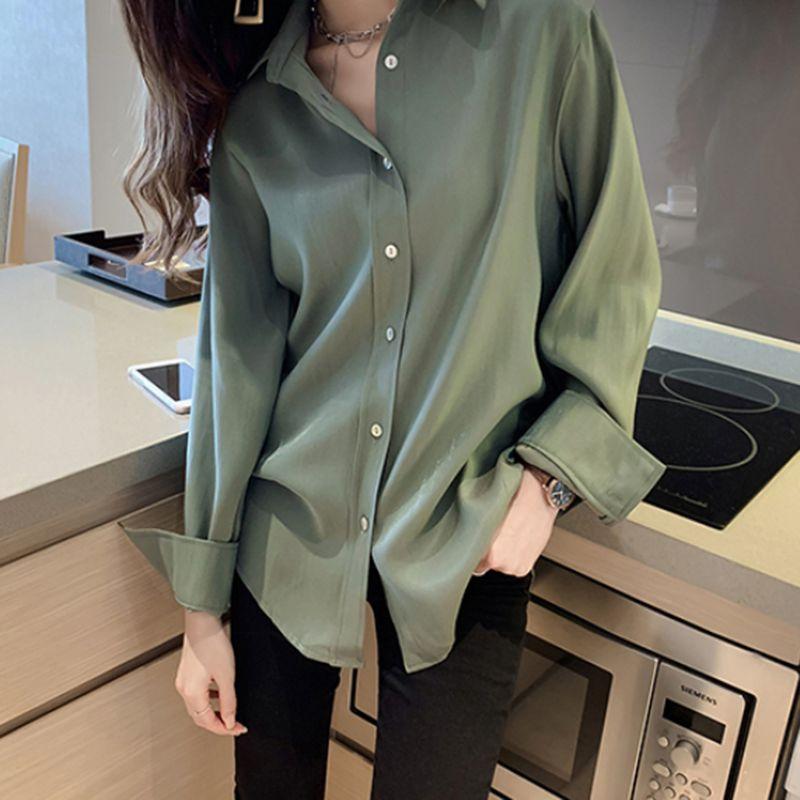 Women Blouses Soft Comfortable Shirt Long Sleeve Casual Chiffon Lapel Women Tops Shirt Loose Single-breasted Shirts C2