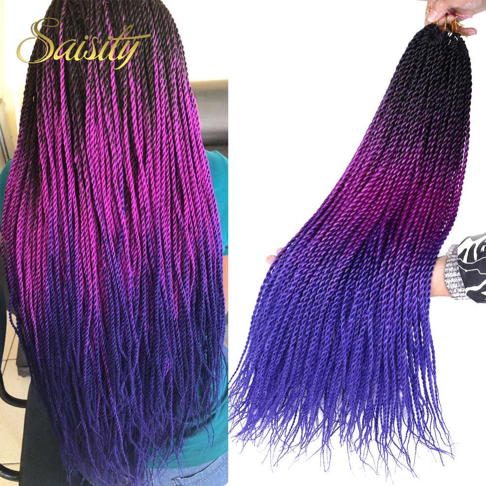 Saisity 24 Inch Ombre Senegalese Twist Hair Crochet Braids 20 Roots/pack Synthetic Braiding Hair For Women Grey,pink,brown