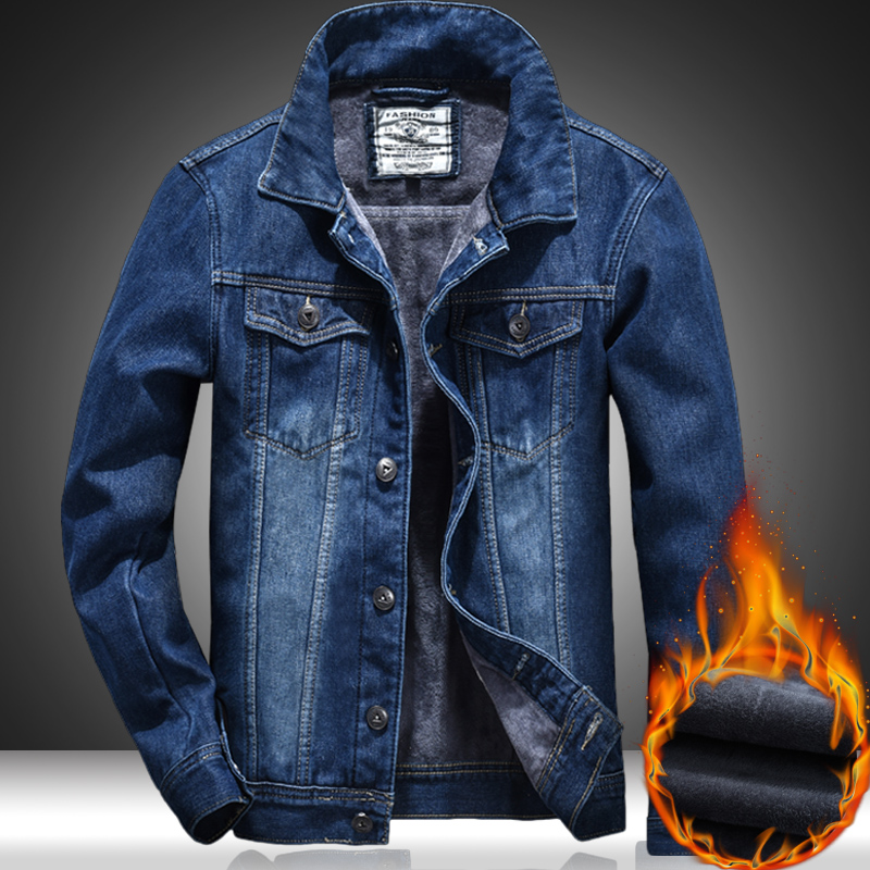 2019 Autumn And Winter New Men Jeans Jacket Thick Warm Mens Coat Plus Velvet Denim Jacket Wild Youthful Outwear Large Size 5XL