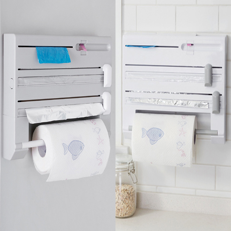 1PC Wall Mounted Paper Towel Rack Tissue Film Preservative Holder Wrap Tin Foil Dispenser Storage Organizer For Kitchen Bathroom