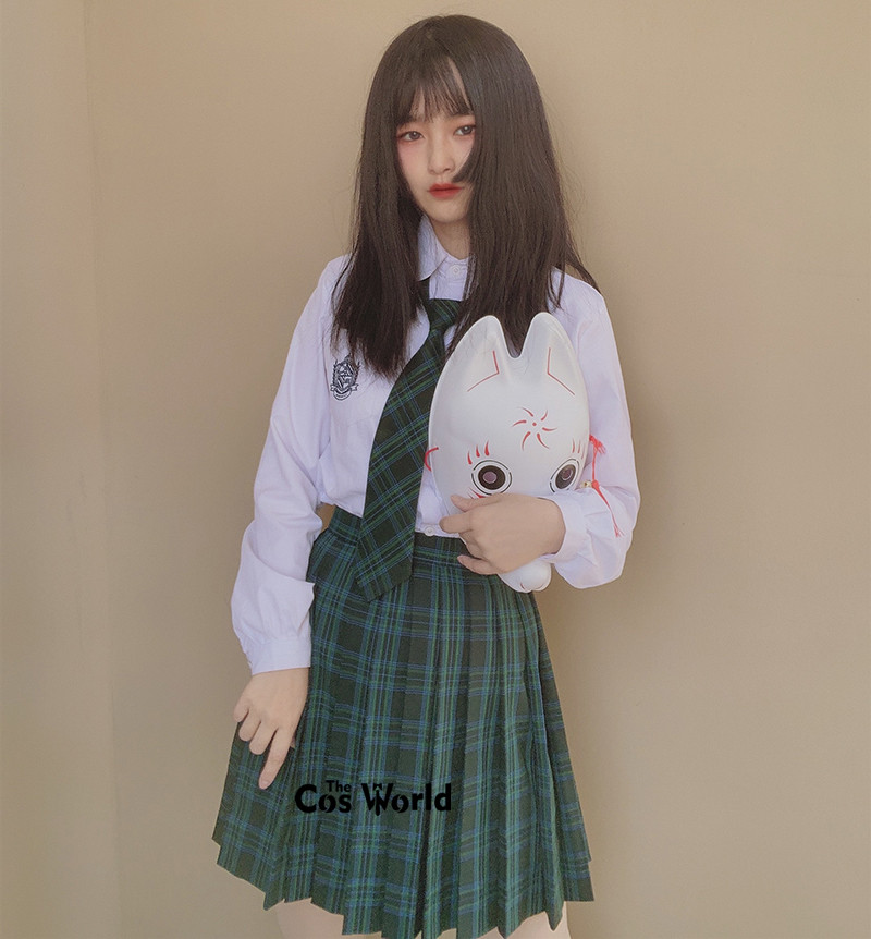 [Green Blue] Girl's Summer High Waist Pleated Skirts Plaid Skirts Women Dress For JK School Uniform Students Cloths
