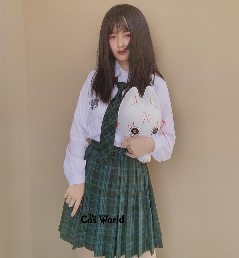 [Green Blue] Girl's Summer High Waist Pleated Skirts Plaid Skirts Women Dress For JK School Uniform Students Cloths