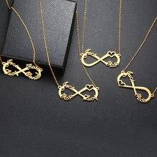 Vnox özel 2/3/4 isimleri kolye Infinity kalp simgesi Chokers kadınlar için kişiselleştirilmiş çift aile tabela aşk hediyeler