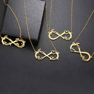 Vnox Custom 2/3/4 Names Necklace Infinity with Heart Icon Chokers for Women Personalize Couple Family Nameplate Love Gifts