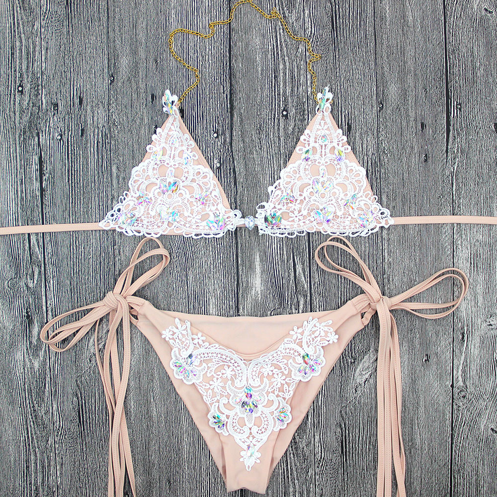 Sexy Thong Diamond Swimwear Lace Stitching Bikini Beachwear Brazilian Bandage Biquini Women Rhinestone Up Swimsuit