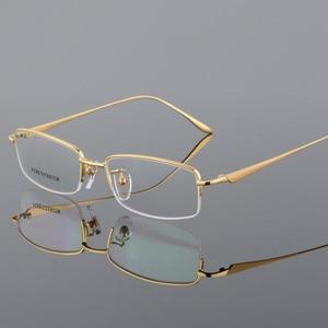Image 1 - New Semi Rim Pure Titanium Eyeglasses Frame for Men Optical Glasses Frame Prescription Half rim Eyewear Business Spectacles