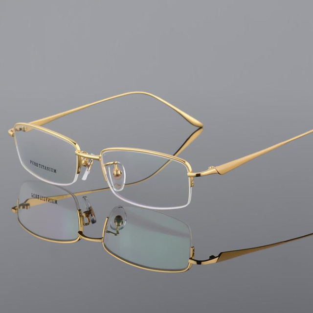 New Semi Rim Pure Titanium Eyeglasses Frame for Men Optical Glasses Frame Prescription Half rim Eyewear Business Spectacles
