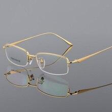 Nowe pół obręczy oprawa okularów z czystego tytanu dla męskie okulary optyczne ramki na receptę pół obręczy okulary biznes okulary