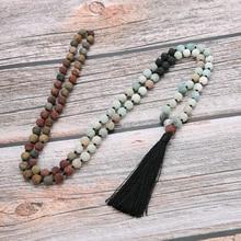 YUOKIAA Hand Knotted Malas Beads Neckace Yoga Meditation Jewelry 8mm Natural stone 108 Mala Necklaces