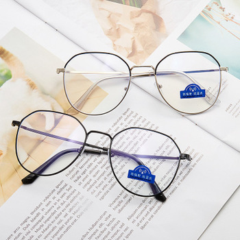 2021 Vintage Anti Blue light Glasses Transparent Optical Sepectacles Polygon Metal Frames Retro Women Men Eyewear Multi Colors image