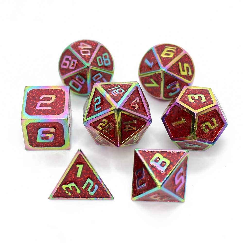 Heart-Shaped Metal Dice DND Board Game 7pcs Polyhedral Dice for RPG Role Playing Game