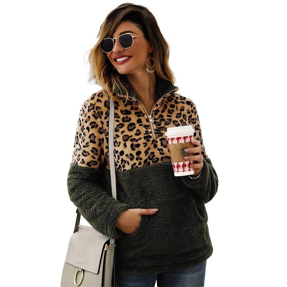 Leopard Patchwork Faux Fur Hoodies Women Pockets Warm Autumn Winter Fleece Oversized Sweatshirt Casual Turtleneck Pullover