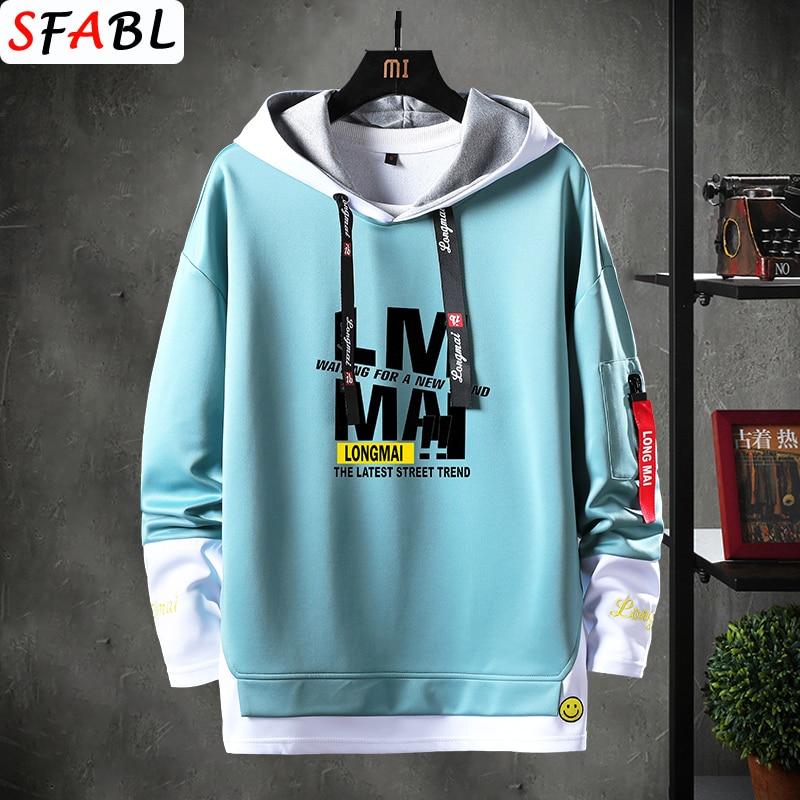 SFABL Cool Patchwork Sweatshirt Men Hip Hop Hoodies Long Sleeve Pullover Male Contrast Color Streetwear Hoodies Men Brand Tops