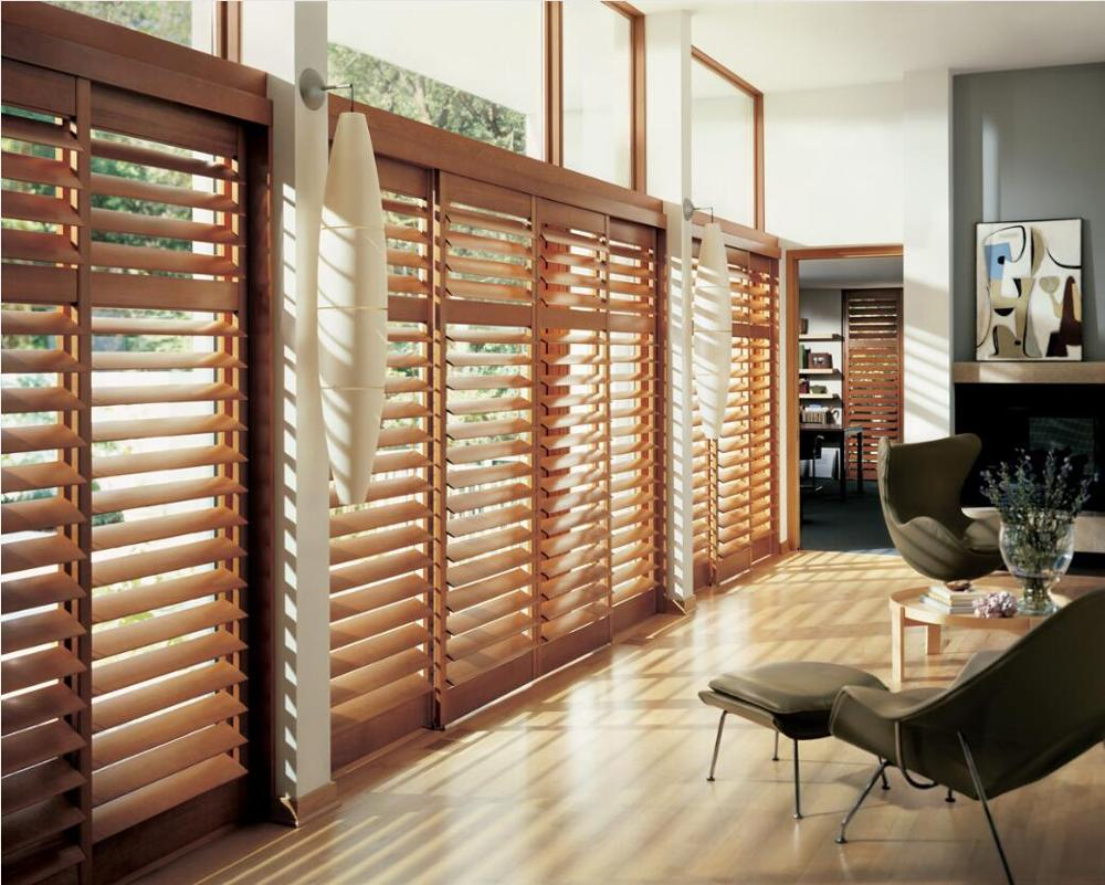 Custom Basswood Plantation Shutters Wooden Blinds Solid Wood Shutter Louvers PS276
