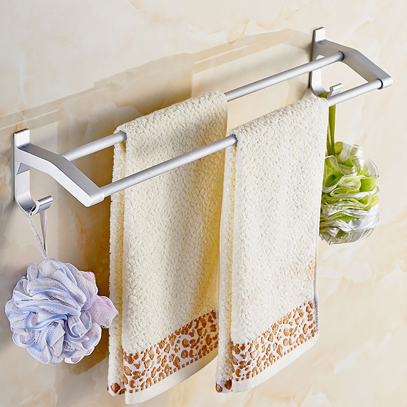 Hole-Punched Bathroom Towel Rack Bathroom Alumimum Suction Wall Double Poles Single Pole Sanitary Ware Hardware Accessories