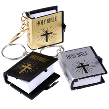 Cute Mini English HOLY BIBLE Keychains Religious Christian Jesus Cross Keyrings Women Bag Gift Souvenirs