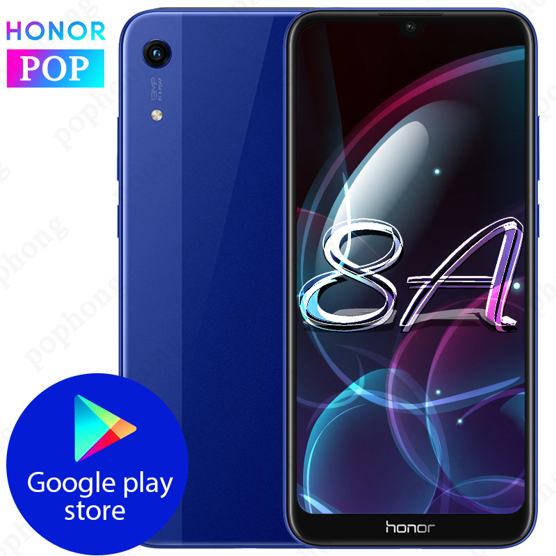 Global Rom HONOR 8A Mobile Phone 6.09 Inch 3GB 32GB MTK6765 Octa Core Android 9.0 3020mAh Face ID