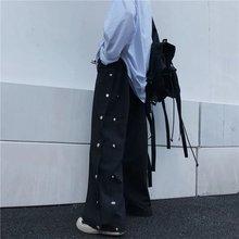 Детские корейские черные прямые брюки ведра свободные широкие
