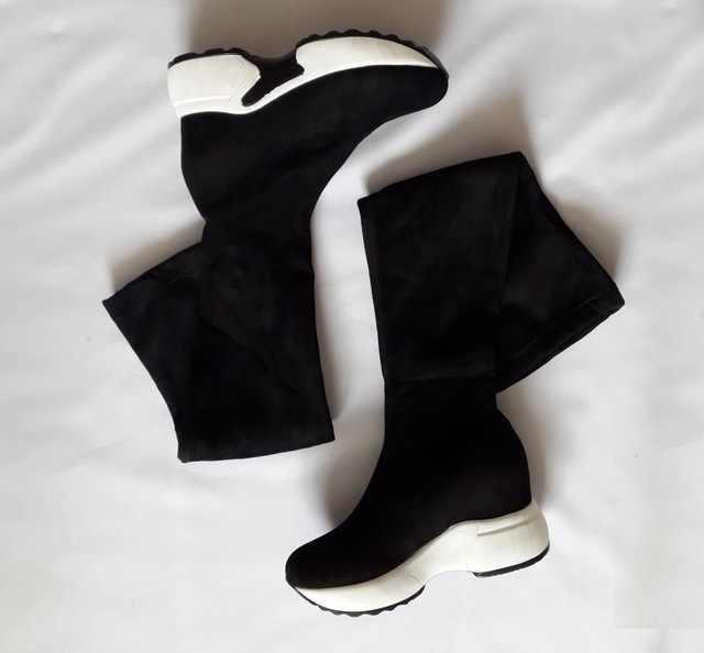 QUTAA 2020 Streç Kumaşlar Diz Çizmeler Üzerinde Yüksekliği Artan Yuvarlak Ayak Kadın Ayakkabı Sonbahar Kış Rahat Uzun Çizmeler Size34-43