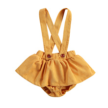 Overalls Shorts Baby-Girls Infant with Strap-Button Yellow Culottes Solid-Color Culottes