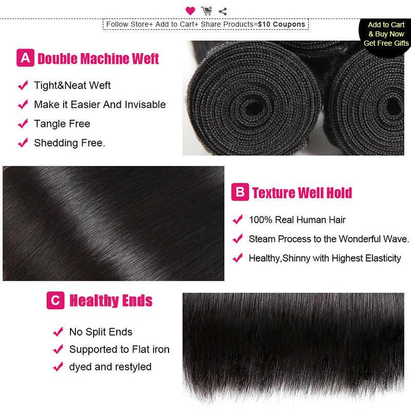 Ishow прямые волосы, 4 пучка, индийские человеческие волосы для наращивания, 100% человеческие волосы, 4 пучка, не Реми, натуральные черные волосы
