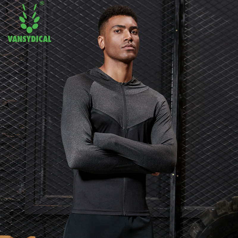 Vansydical New Mens Sportswear Sports Hooded Jackets Running Jacket Training Tops Fitness Gym Top Workout Cycling Zipper Top