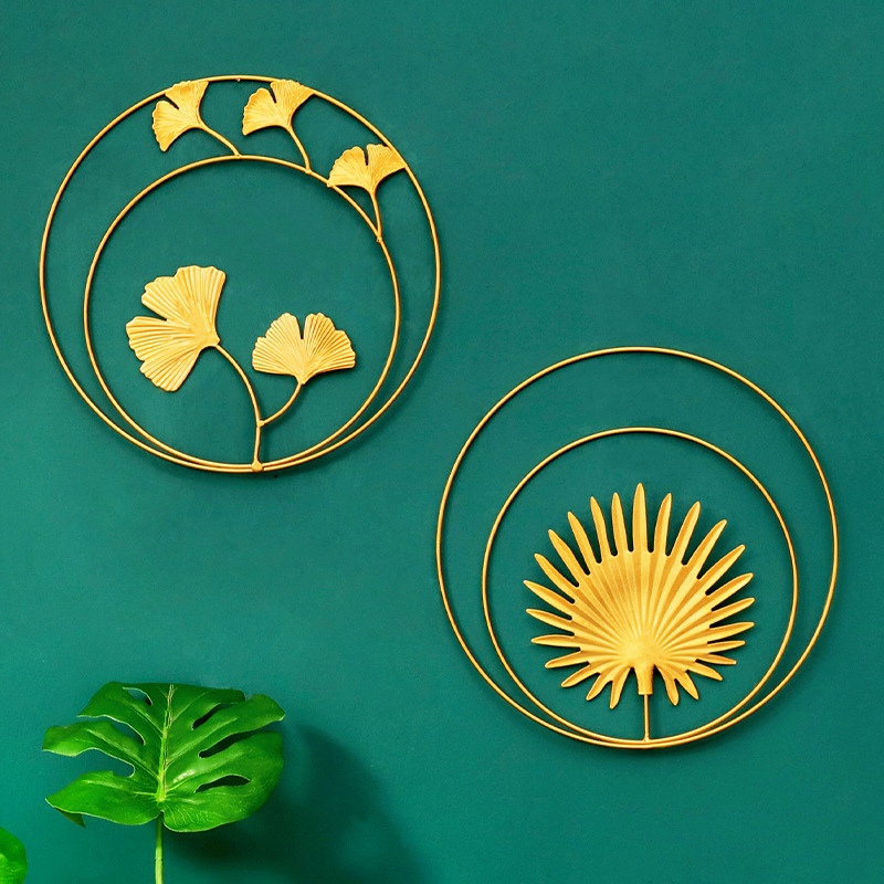 Gold Ginkgo Leaf Home Decor Living Room Iron Three Dimensional Wall Ornaments Office Hotel Wall Hanging Decoration Painting