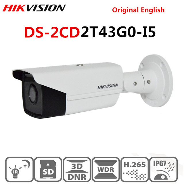 Hikvision جديد كاميرا مراقبة فيديو في الهواء الطلق DS 2CD2T43G0 I5 4MP الأشعة تحت الحمراء 50M رصاصة POE كاميرا IP H.265 + استبدال DS 2CD2T42WD I5