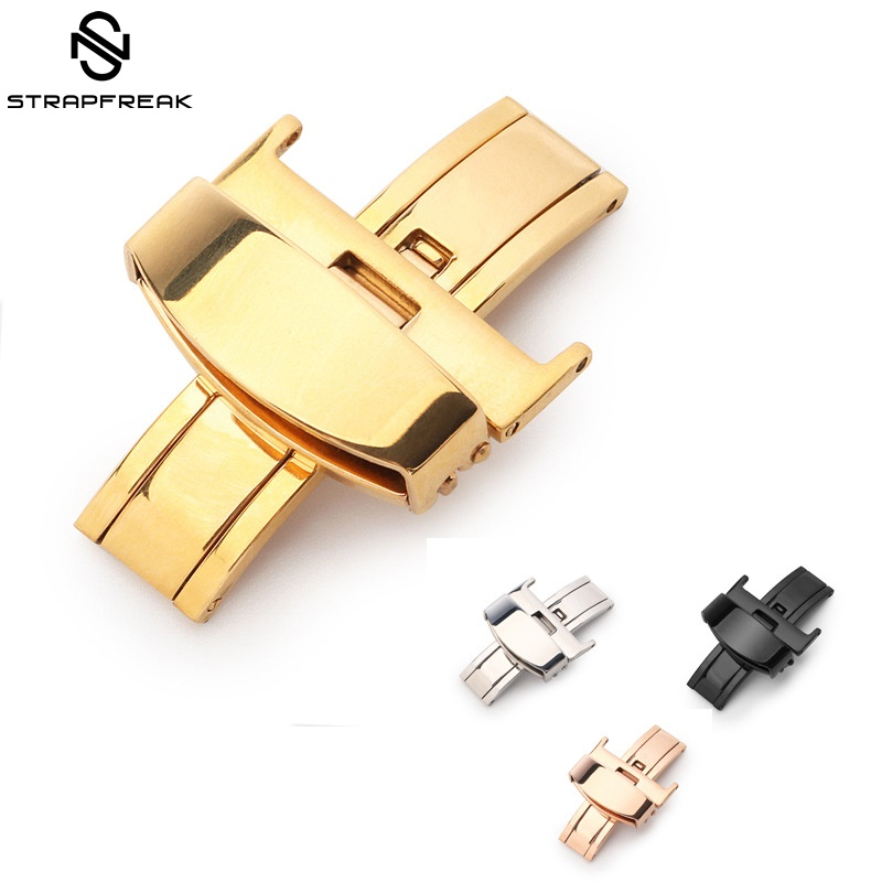 Butterfly Deployment Buckle 10 12 14 16 18mm 20mm 22mm 24mm Stainless Steel 316L Double Push Folding Clasp For Watch Band Strap