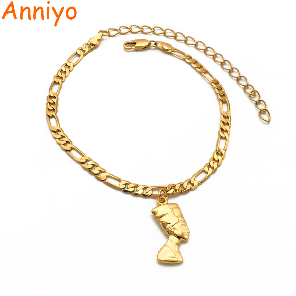 Anniyo Nefertiti-Anklet Jewelry Egyptian Gold-Color African Foot-Chain Gift Women