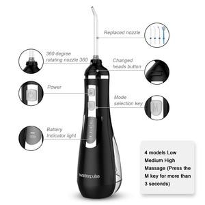 Image 4 - נייד אוראלי Irrigators USB נטענת מים Flosser שיניים מנקה 3 מצבי שיניים סילון מים 300ML מים טנק עמיד למים שיניים