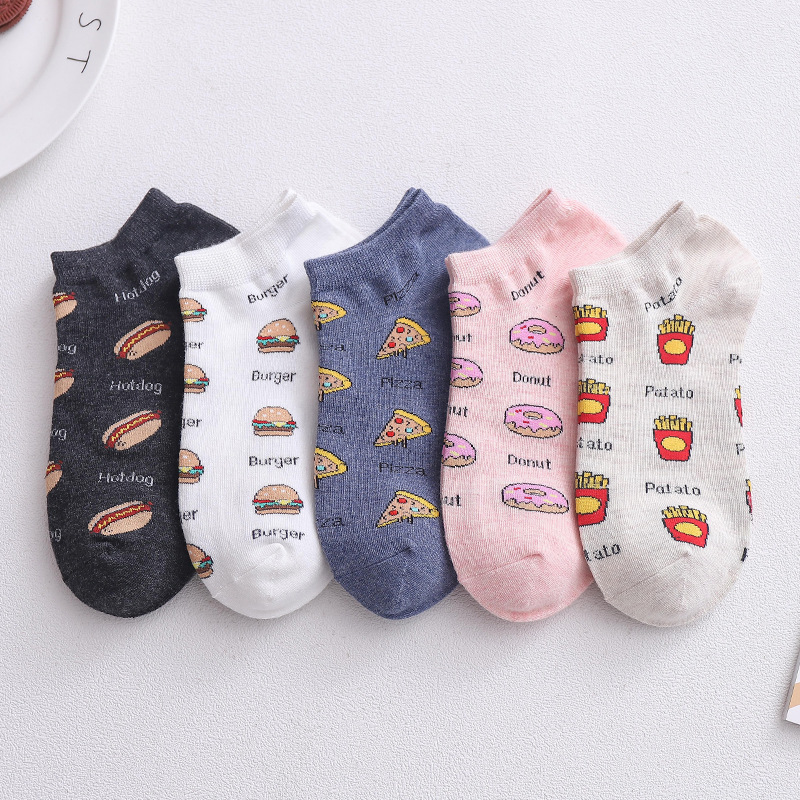 5-Pairs Summer Women Ankle Socks Cotton Funny Cartoon Burger And Fries Partten Comfortable Soft Casual Low Top Thin Socks