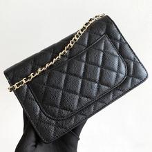 Luksusowa marka woc moda prosta mała torba kwadratowa damska projektant wysokiej jakości prawdziwy skórzany łańcuszek telefon komórkowy torebki na ramię tanie tanio Flap CN (pochodzenie) Prawdziwej skóry WOMEN Stałe Versatile 4622 Wewnętrzna kieszeń Wnętrza przedziału Łuk Hasp