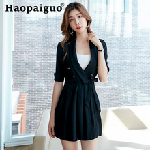 2019 Summer Black Pleated Dress Women Half Sleeve V-neck Corset Casual Mini Dress Women with Sashes Solid Sundress Blazer Dress