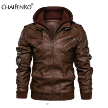 CHAIFENKO Winter Brand Warm Men Leather Jacket Motorcycle Stand Collar With Cap Leather Coats Men Fashion Casual PU Men Jacket