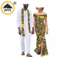 African Couple Clothes Women Long Sleeveless Dress with Slit or Men's Long Sleeve Pant Suits Wax Print Dashiki S20C008