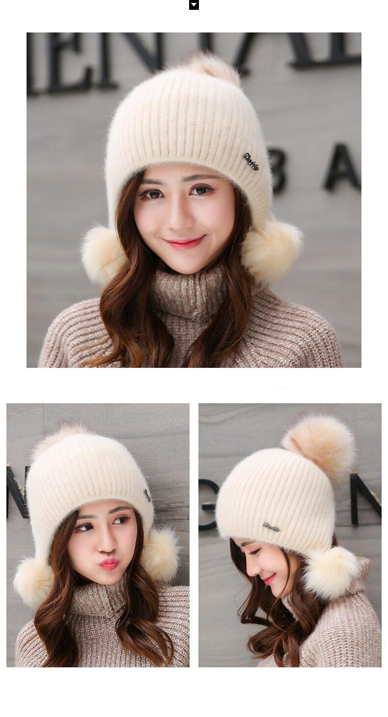 chapeau en laine fourrure PomPoms pour femmes