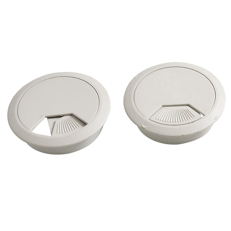 2 Pcs Gray Plastic Single Hole Grommet Cable Hole Cover for Computer Desk Table