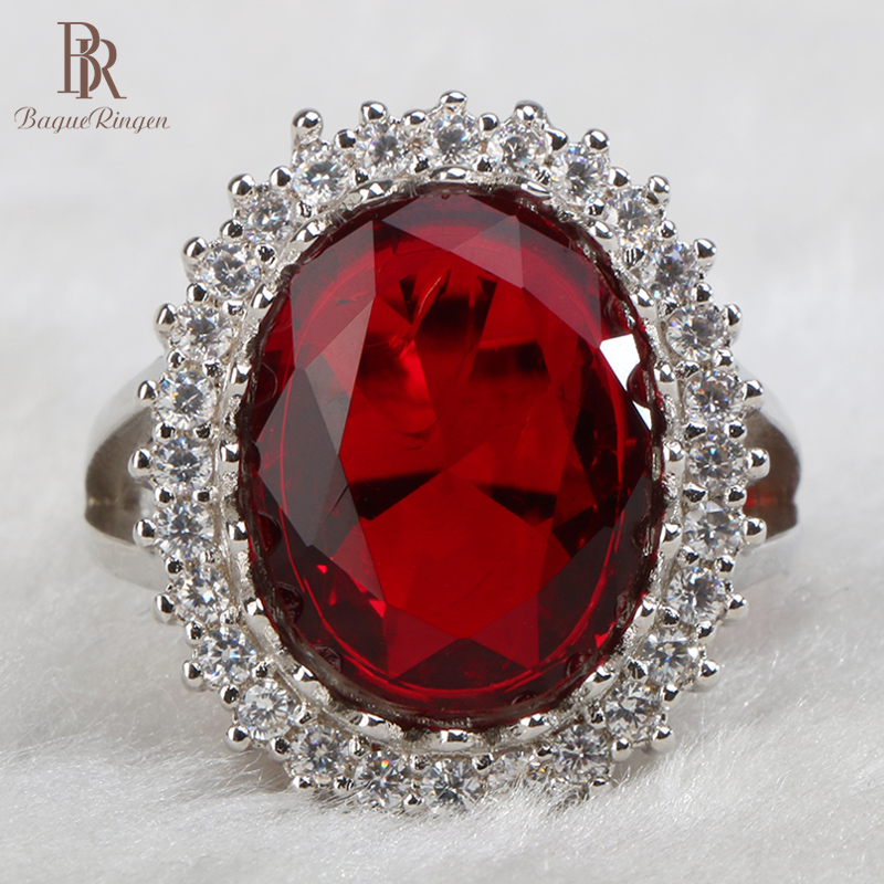 Bague Ringen women sterling silver rings with round shape ruby gemstones women wedding party wholesale gift size 6-10
