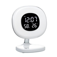 Led Wake Up Light Alarm Clock Table Lamp with 5 Light Modes Sunrise Simulation Snooze Function for Kids Heavy Sleepers Temperatu