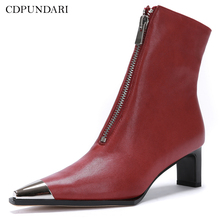 Genuine Leather Ankle boots for women sheepskin High heel