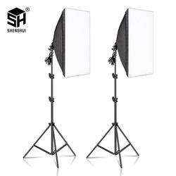 2 pces 50x70cm fotografia softbox iluminação kits profissional contínuo equipamento do sistema de luz para estúdio de fotos
