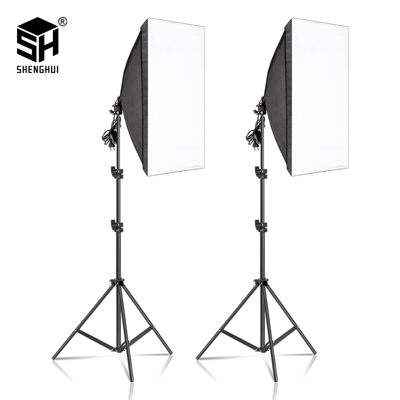 2pcs 50x70CM Photography Softbox Lighting Kits  Professional Continuous Light System Equipment For Photo Studio