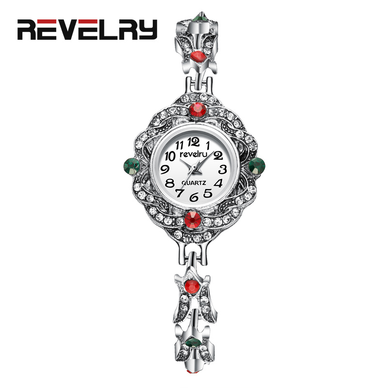REVELRY Silver Bracelet Luxury Watches Stainless Steel Retro Ladies Quartz Wristwatch Fashion Casual Women Dress Watch Montre