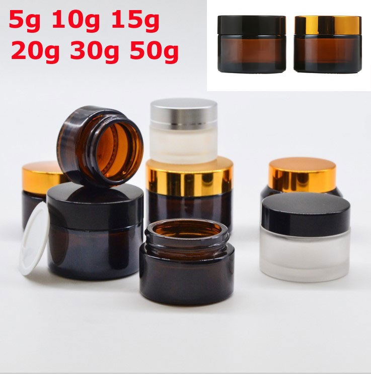 1pcs X 5g 10g 15g 20g 30g 50g Empty Amber Clear Frosted Glass Jar Container Cosmetic Cream Lotion Powder Matte Pot Travel Bottle