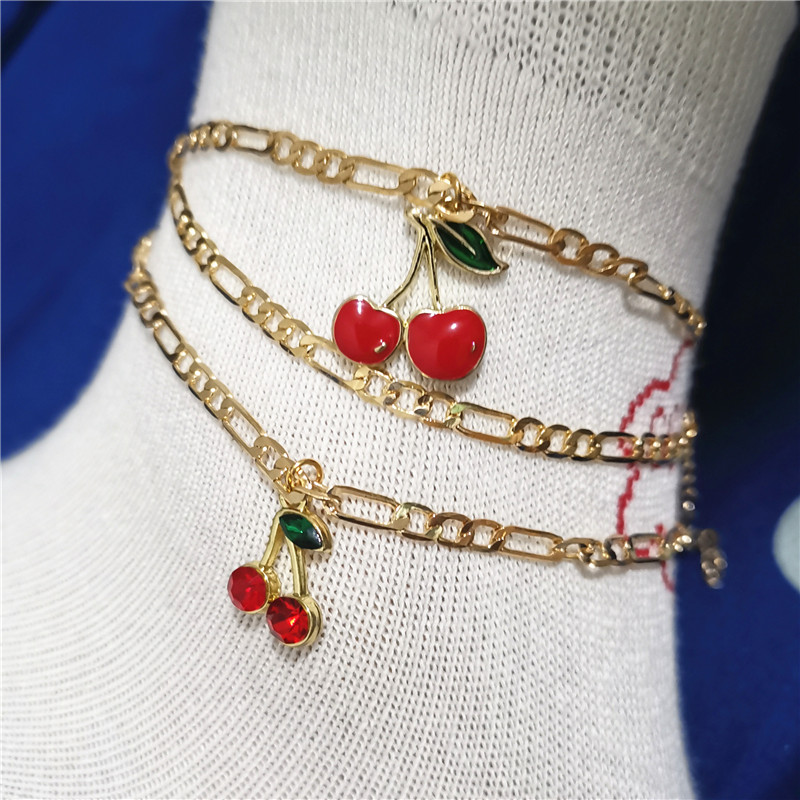 2Pcs/Set Fashion Crystal Cherry Anklet for Women Gold Color Sweet Fruit Butterfly Flowers Ankle Chain Bracelet Foot Accessories